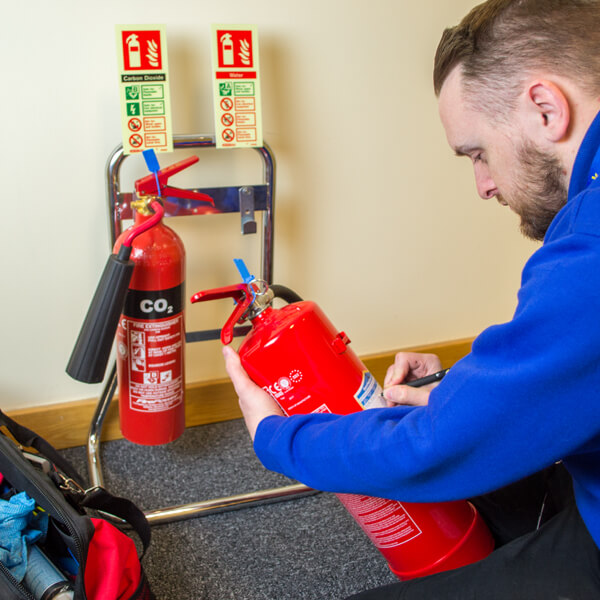 On site extinguisher commissioning
