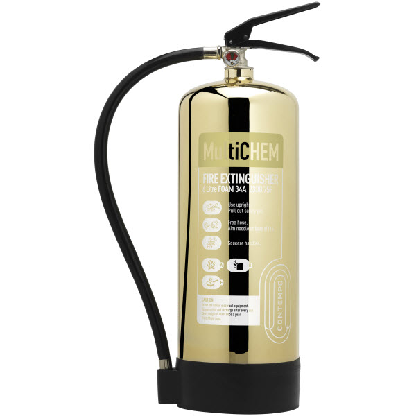 Polished Gold 6ltr MultiChem Extinguisher