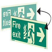 Hanging NHS Fire Exit Right 430HTMDS