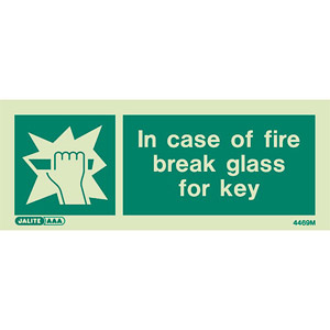 Break glass for key sign 4469