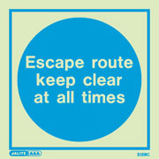 Escape route keep clear 5129