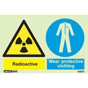 Warning Radioactive Wear Protective Clothing 7480