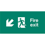 Emergency Light Legend Fire Exit Down Left Pack of 10 EL433