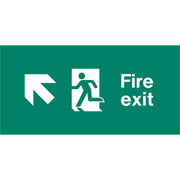Emergency Light Legend Fire Exit Up Left Pack of 10 EL434
