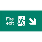 Emergency Light Legend Fire Exit Down Right Pack of 10 EL439