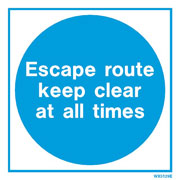White Escape Route Keep Clear WX5129