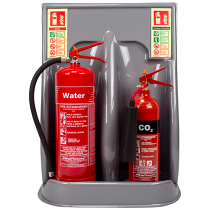 Silver double extinguisher stand