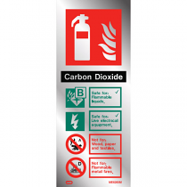 Stainless steel effect extinguisher sign