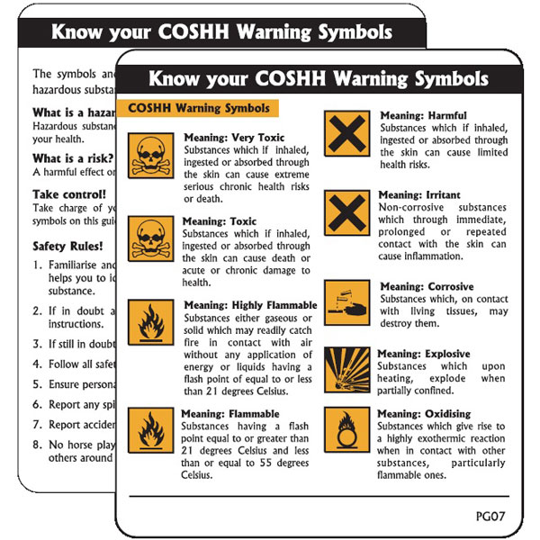 Coshh Warning Symbols Pack Of 10 Pg07 Easy Fire Safety