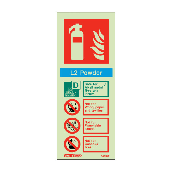 L2 powder fire extinguisher sign