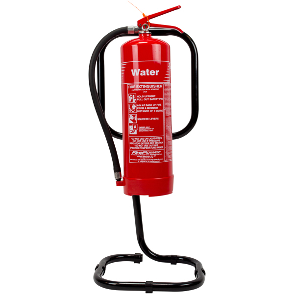 Black tubular fire extinguisher stand