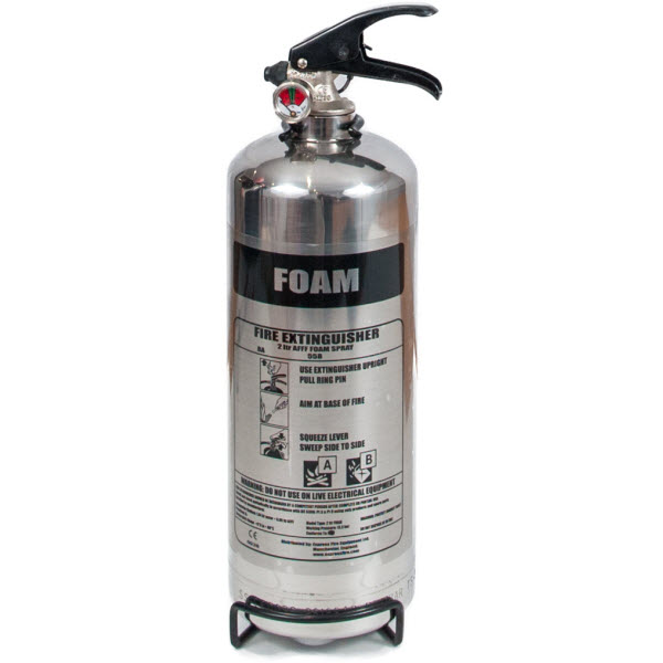 Chrome 2 litre foam fire extinguisher