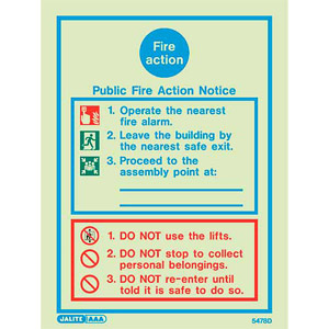 Public fire action sign 5478