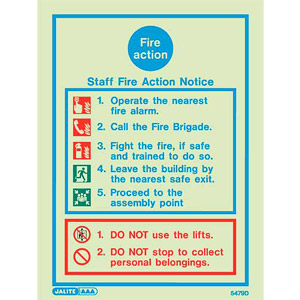 Staff fire action sign 5479