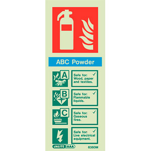 ABC powder fire extinguisher sign