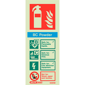 BC powder fire extinguisher sign