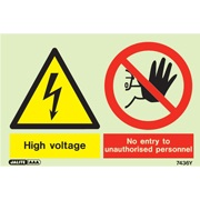 Warning High Voltage No Entry To Unauthorized Personnel 7436