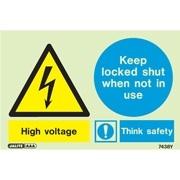 Warning High Voltage Keep Locked 7438