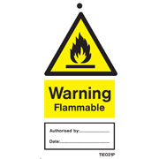 Warning Flammable Labels Pack of 10 TIE021