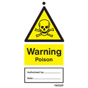 Warning Poison Labels Pack of 10 TIE022
