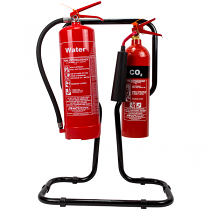 Double black fire extinguisher stand