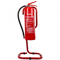 Red tubular fire extinguisher stand